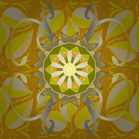 Geometric circle element in glod colors. Vector Round Ornament Pattern. Spiritual and ritual symbol of Islam, Arabic, Indian religions. Mandala on colorful background.