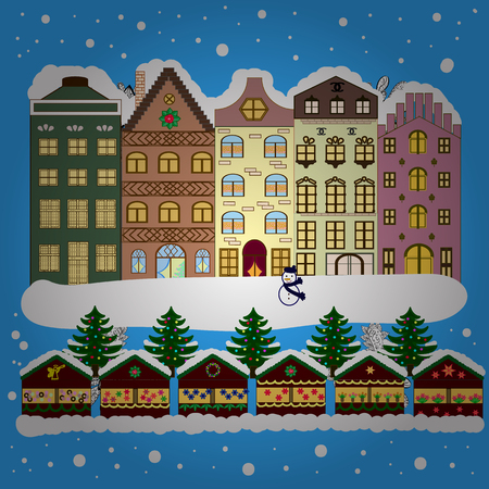Illustration vectorielle de vacances. Paysage d'hiver de la ville en soirée avec des maisons de crique des neiges et arbre de Noël. Banque d'images - 75994687