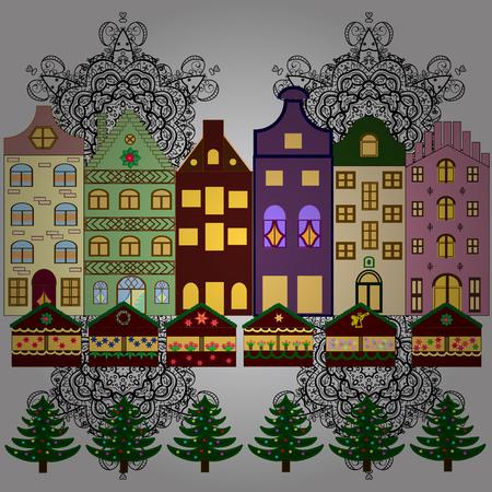Snowy street. Urban winter landscape. Christmas card Happy Holidays banner. Vector illustration. Flat design. Illustration