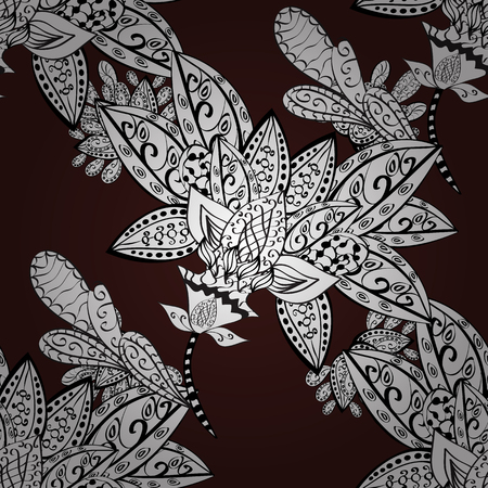royal wedding: White pattern on brown background with white elements. Seamless classic white pattern. Vector traditional orient ornament. Illustration