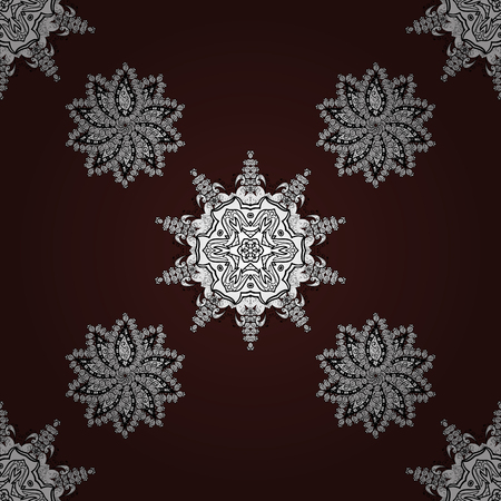 Vintage snowflakes on brown background. Symbol holiday, New Year celebration vector white pattern. Winter snow texture sketch. Christmas white snowflake seamless pattern.