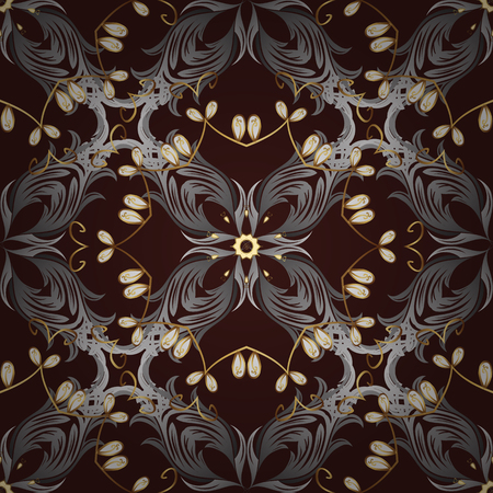 baroque border: Seamless golden pattern. Vector oriental ornament. Golden pattern with white doodles on brown background with golden elements.