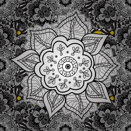 baroque border: Golden pattern. Vector oriental ornament. Golden pattern on yellow background with golden elements.