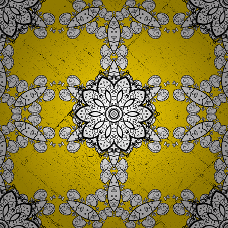 Vector oriental ornament. Golden pattern on yellow background with golden elements. Golden pattern.