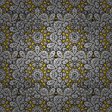 Golden pattern on yellow background with golden elements. Pattern oriental ornament. Vector golden textile print. Islamic design. Floral tiles. Illustration