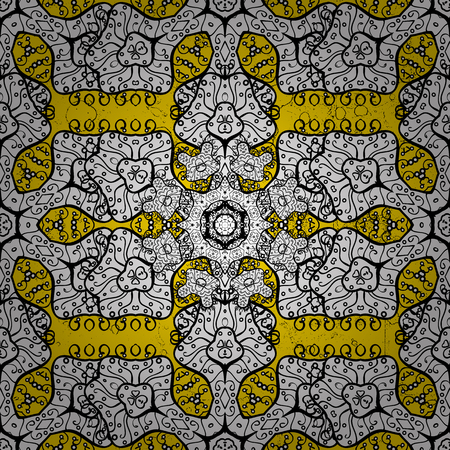 florid: Element woodcarving. Small depth of field. Carving. Luxury furniture. Furniture in classic style. Yellow tree with ornamental trim. Patina. Pattern on yellow background with white elements.