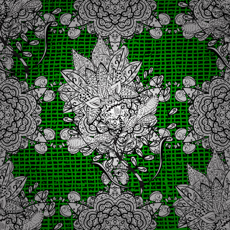 White pattern. Metal with floral pattern. Green background with white elements. Vector white floral ornament brocade textile pattern.