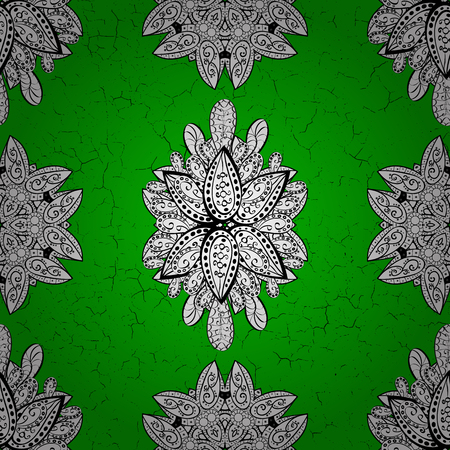Ornamental floral elements with henna tattoo, white stickers, mehndi and yoga design, cards and prints. Pattern on green background with white elements. Vector white mehndi pattern.