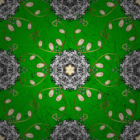 Classic vintage background. Classic vector green and golden pattern. Traditional orient ornament. Illustration