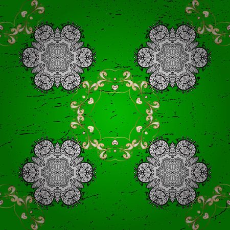 baroque border: Traditional classic golden vector pattern on green background with golden elements. Oriental ornament in the style of baroque.
