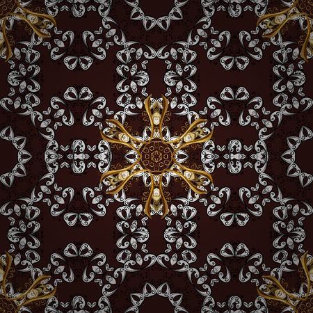 baroque border: Golden pattern with white doodles on brown background with golden elements. Seamless golden pattern. Vector oriental ornament.