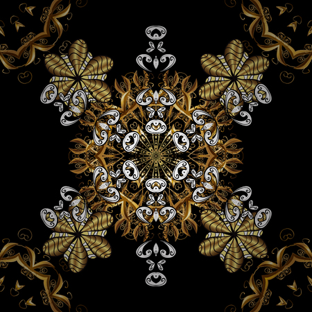 tillable: Gold black floral ornament in baroque style. Damask seamless pattern repeating background. Golden element on black background. Antique golden repeatable sketch.