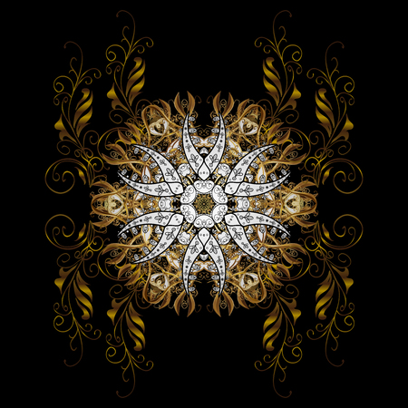 Pattern oriental ornament. Vector golden textile print. Islamic design. Floral tiles. Golden pattern on black background with golden elements. Illustration