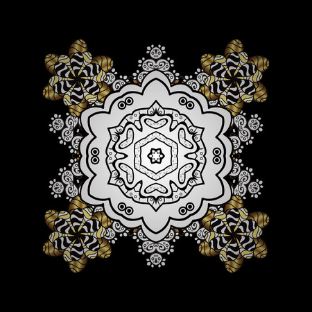 Oriental ornament in the style of baroque. Traditional classic golden pattern. Vector oriental ornament. Golden pattern on black background with golden elements.