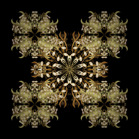 brightness: Golden snowflake vector design in golden colors. Isolated ornament. Snow flakes background. Vector illustration. Illustration