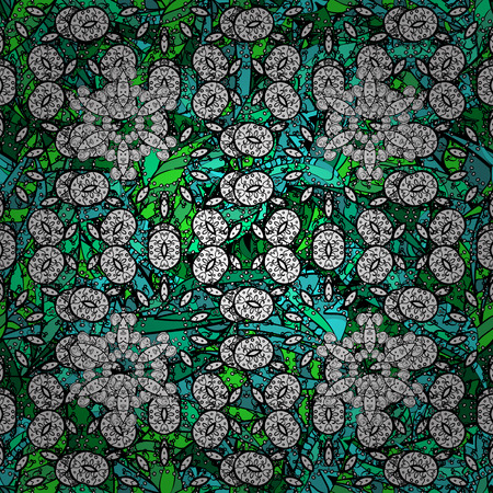 rug texture: Background texture, sketch, floral theme in colors. Abstract ethnic vector seamless pattern. Tribal art boho print, vintage green doodles background. Illustration