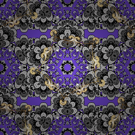 baroque border: Classic vintage background. Traditional orient ornament. Seamless pattern on violet background with golden elements and white doodles. Seamless classic vector golden pattern. Illustration