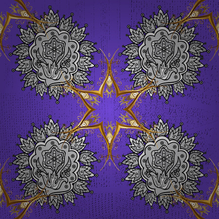 drapes: Christmas, snowflake, new year. Golden pattern on violet background with golden elements. Seamless vintage pattern on violet background with golden elements.