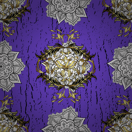 Violet tree with gold trim. Small depth of field. Luxury furniture. Furniture in classic style. Seamless element woodcarving. Patina. Pattern on violet background with golden elements. Carving. Illustration