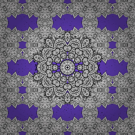 Ornate decoration. White pattern on violet background with white elements. Luxury, royal and Victorian concept. Vector vintage baroque floral pattern in blue. Illustration