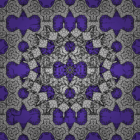 Violet background with white elements. Oriental ornament in the style of baroque. Traditional classic vector white pattern. Illustration