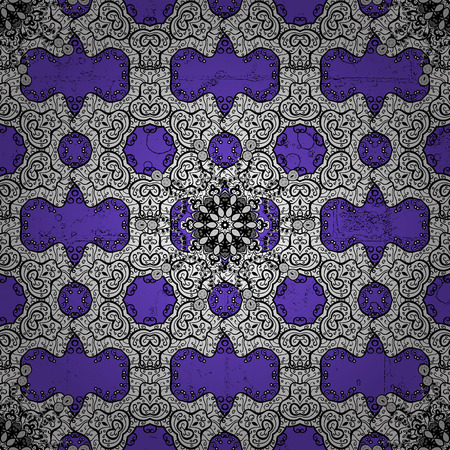 Vector white mehndi pattern. Ornamental floral elements with henna tattoo, white stickers, mehndi and yoga design, cards and prints. Pattern on violet background with white elements.