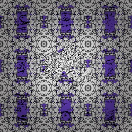 baroque border: White pattern on violet background with white elements. Vintage pattern on violet background with white elements. Christmas, snowflake, new year. Illustration