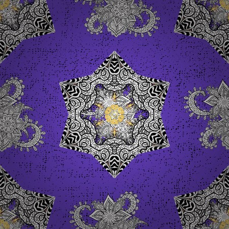Ornamental lace tracery. Vintage design element in Eastern style. Golden ornate illustration for sketch. Traditional arabic decor on violet background. Vector seamless pattern with floral ornament.