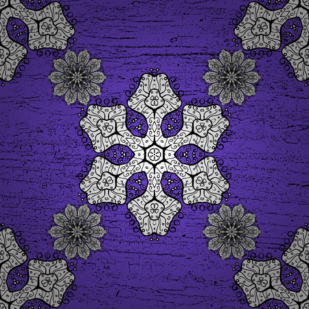 Vector white pattern. Flat hand drawn vintage collection. White pattern on violet background with white elements. Backdrop, fabric, blue sketch.