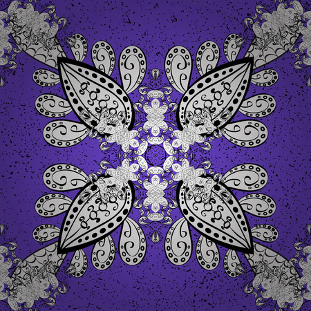 ?attern on violet background with white elements. Oriental style arabesques. White textured curls. Vector white pattern. Illustration