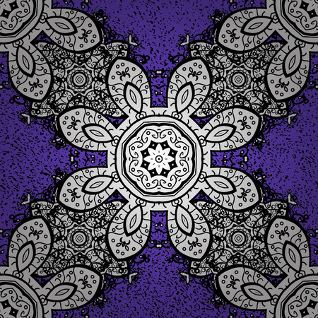 Violet background with white elements. Metal with floral pattern. Vector white floral ornament brocade textile pattern. White pattern.