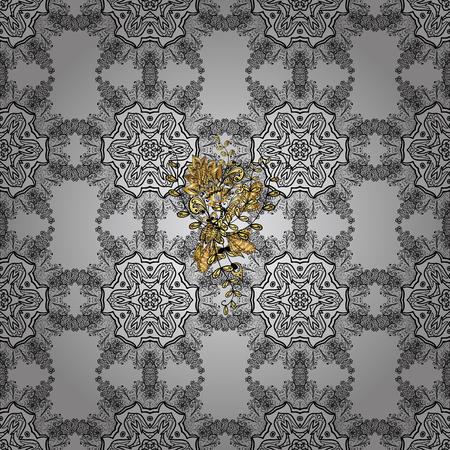 La guirnalda floral abstracta del vector de la fantasía de oro del garabato se va y florece en un fondo gris. Dibujado a mano marco decorativo, portada del álbum, invitación, tarjeta de felicitación, estilo Art Deco vintage.