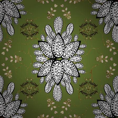 Pattern oriental ornament. Floral tiles. Islamic design. Golden pattern on green background with golden elements. Vector golden textile print.