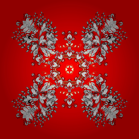 Classic vector red and white and white pattern. Traditional orient ornament with white doodles. Classic vintage background.