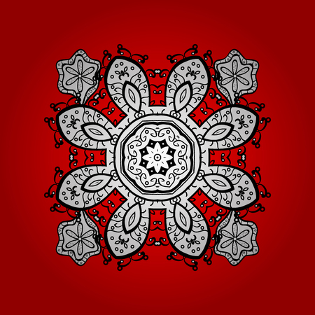 Vector white mehndi. Ornamental floral elements with henna tattoo, white stickers, mehndi and yoga design, cards and prints. Pattern on red and white background with doodles elements. Illustration