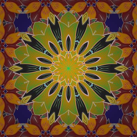 아라베스크. 고리로 연결된 가지, 꽃 및 곱슬 머리 장식. 컬러 만다라를 배경입니다. 벡터 순환 추상 만다라 패턴입니다.