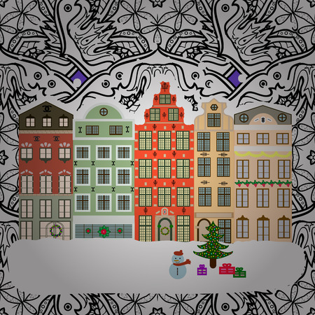winter tree: Winter is coming. Landscape with nature and houses. Vector illustration. Nature landscape. Winter city with trees, cute houses. Holidays Vector illustration. Illustration