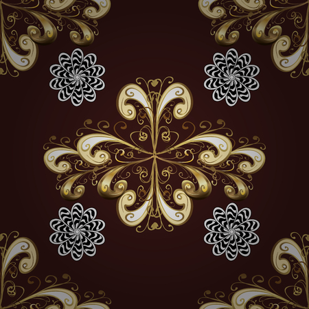 tillable: Seamless pattern on brown background with golden elements. Seamless classic vector golden pattern. Traditional orient ornament, classic vintage pattern.