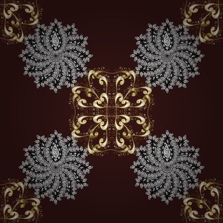 Golden pattern on brown background with golden elements. Vector vintage baroque floral seamless pattern in gold. Luxury, royal and Victorian concept. Ornate decoration. Иллюстрация
