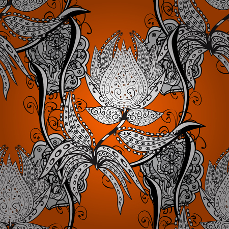 Vector white pattern. Seamless white textured curls. Oriental style arabesques. Orange background with white elements. Vector illustration.