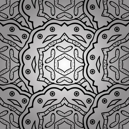 baroque border: Ethnic elements seamless pattern. White doodles. Vector illustration. Doodles sketch pattern. Illustration