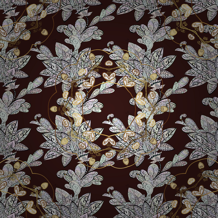 Floral ornament brocade textile pattern, glass, metal with floral pattern on brown background with golden elements. Seamless classic vector golden pattern. Иллюстрация