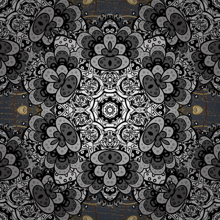 baroque border: Golden floral ornament in baroque style. Damask repeating background. Golden element on gray background. Antique golden repeatable sketch.