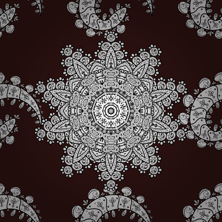 florid: Vector vintage baroque floral seamless pattern in grey. Ornate decoration. Luxury, royal and Victorian concept. Gray pattern on brown background with gray elements.