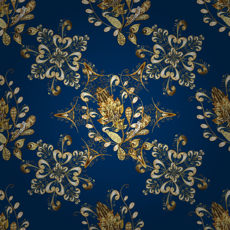 florid: Golden pattern on blue background with golden elements. Seamless classic golden pattern. Vector traditional orient ornament. Illustration