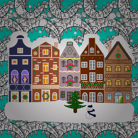 Holiday background with a Christmas tree and presents with santa hat. Vector illustration.