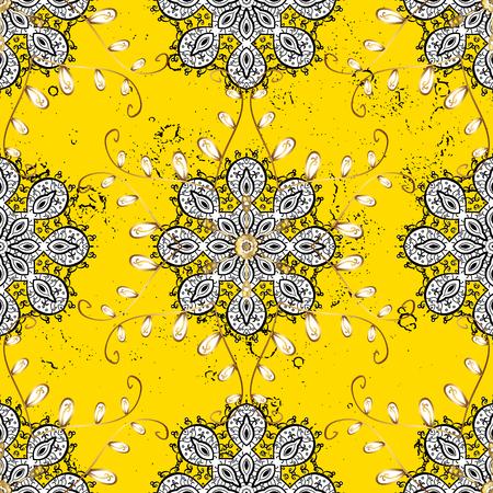 baroque border: Damask gold yellow floral flower pattern background on vector. Ornate vector decoration. Illustration