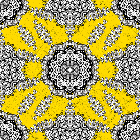 Gold yellow floral ornament in baroque style. Antique golden repeatable sketch. Damask pattern repeating background. Golden element on yellow background.