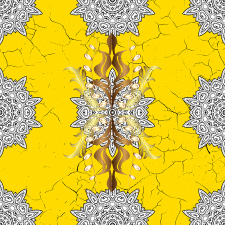 Classic vintage background. Classic vector yellow and golden pattern. Traditional orient ornament.