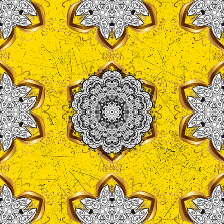Damask classic white and golden pattern. Vector abstract background with repeating elements. Golden pattern on yellow background with golden elements. Illustration